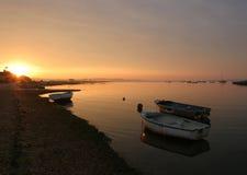 Sonnenaufgang, Poole Hafen. Stockbild