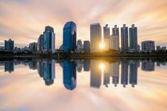 Sonnenaufgang scence von Bangkok-Panorama Lizenzfreie Stockfotos