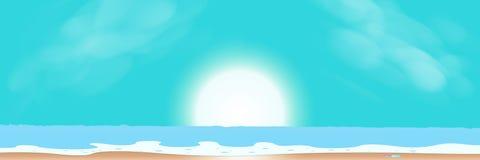 Sonnenaufgang-, See-, Himmel- und Strandsommersaisonzusammenfassungshintergrund VE vektor abbildung