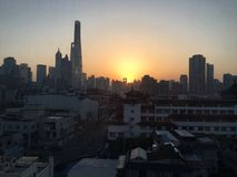 Sonnenaufgang in Shanghai stockfotos