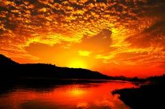 Sonnenaufgang, Sonnenuntergang, Thesun, der Strom Lizenzfreies Stockfoto