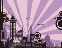 Sonnenaufgang-Stadt-Hintergrund-Serie Stockbild
