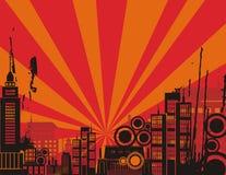 Sonnenaufgang-Stadt-Hintergrund-Serie Stockbilder
