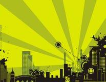 Sonnenaufgang-Stadt-Hintergrund-Serie Stockfoto