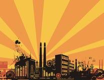 Sonnenaufgang-Stadt-Hintergrund-Serie Stockfotos