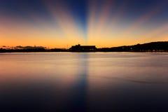 Sonnenaufgang Tahitis Papeete Stockbilder