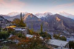 Sonnenaufgang an Tal Hunza Nagar Gilgit baltistan, Pakistan lizenzfreie stockbilder
