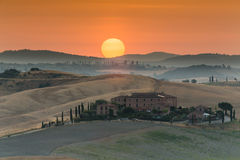 Sonnenaufgang in Toskana Stockbild