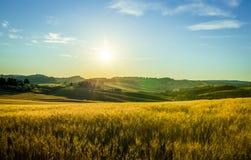 Sonnenaufgang in Toskana Stockfotos