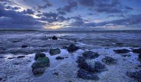 Sonnenaufgang und schlammiger Strand Stockfotos