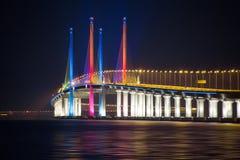 Sonnenaufgang und Sonnenuntergang in Penang-Brücke George Town, Penang Malaysia Lizenzfreies Stockbild