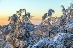 Sonnenaufgang unter der Winterruheberglandschaft mit schönem Stockfoto