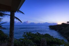 Sonnenaufgang von abgelegener Flucht in der Dominikanischen Republik stockfoto
