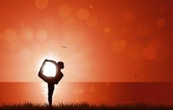 Sonnenaufgang-Yoga Stockfoto