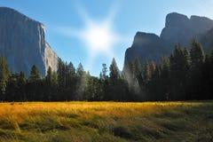Sonnenaufgang, Yosemite-Park. lizenzfreie stockbilder