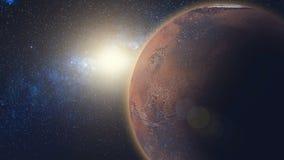 Sonnenaufgangansicht über Mars in der Sonne strahlt vom Raum stockbilder