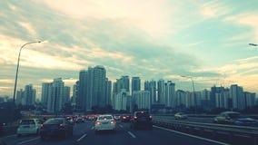 Sonnenaufgangansicht auf dem Weg zu Jln Duta, Kuala Lumput Stockfotografie
