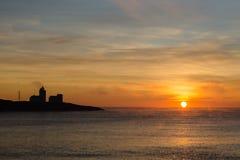 Sonnenaufgangansicht des frühen Morgens über das Meer Stockfotos