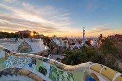 Sonnenaufgangansicht des Parks Guell in Barcelona lizenzfreies stockbild
