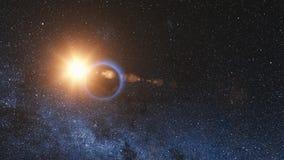 Sonnenaufgangansicht vom Raum auf Planeten-Erde 3d übertragen lizenzfreie abbildung