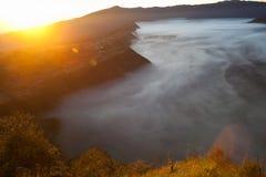 Sonnenaufgangberge Afrika-Natur-Morgen Volcano Viewpoint Gebirgstrekking, Tal-Ansicht-Landschaft Niemand Foto Lizenzfreies Stockfoto