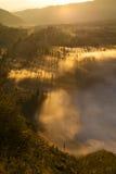 Sonnenaufgangberge Asien-Natur-Morgen Volcano Viewpoint Gebirgstrekking, Ansicht-Landschaftstal-Bali-Dorf niemand Stockbild