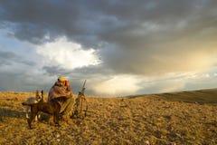 Sonnenaufgangjäger und -hunde in der schwermütigen trockenen Landschaft Stockbilder
