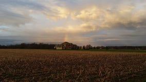 Sonnenaufgangregenbogen Indiana glücklich Stockfotos