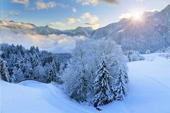 Sonnenaufgangschnee in den Alpen lizenzfreies stockbild