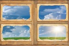 Sonnenaufgangsonnehimmel-Fensterglas Stockfotografie