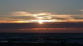 Sonnenaufgangstrand die Niederlande Stockfotos