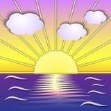 Sonnenaufgangszene des Vektors abstrakte See vektor abbildung