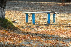 Sonnenbeschiene alte blaue Holzbank und Tabelle an einem Herbst setzen Park auf den Strand Sonniger Tag Lizenzfreies Stockfoto