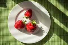 Sonnenbeschiene Erdbeeren Lizenzfreie Stockfotografie