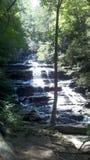 Sonnenbeschiener Wasserfall im Wald Stockfotografie