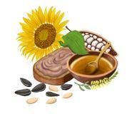 Sonnenblume, Brot mit Schokoladenmasse, Kakao, Honig und Sonnenblumensamen Lokalisiert auf Weiß vektor abbildung