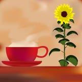 Sonnenblume-Kaffee-Menü-Schablone stock abbildung