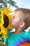 Sonnenblume und Junge lizenzfreies stockbild