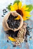Sonnenblume und Sonnenblumensamen lizenzfreie stockfotografie