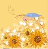Sonnenblume und Vogel Stockbilder
