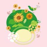 Sonnenblume und Vogel Lizenzfreies Stockbild