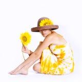 Sonnenblumemädchen getrennt Stockfotografie