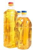 Sonnenblumenöl in den drei Flaschen Stockbild