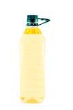 Sonnenblumenöl in der Plastikflasche. Stockfoto