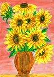 Sonnenblumen auf dem Rot, malend Stockfotografie