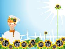 Sonnenblumen des jungen Mannes stock abbildung