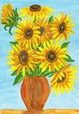 Sonnenblumen, malend Stockbild
