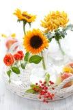 Sonnenblumen, rosafarben, Chrysantheme und Äpfel Stockbilder