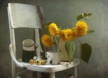 Sonnenblumen und alte Becher Lizenzfreie Stockfotos