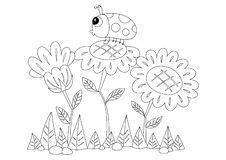 Sonnenblumen und ein Marienkäfer farblos lizenzfreie abbildung
